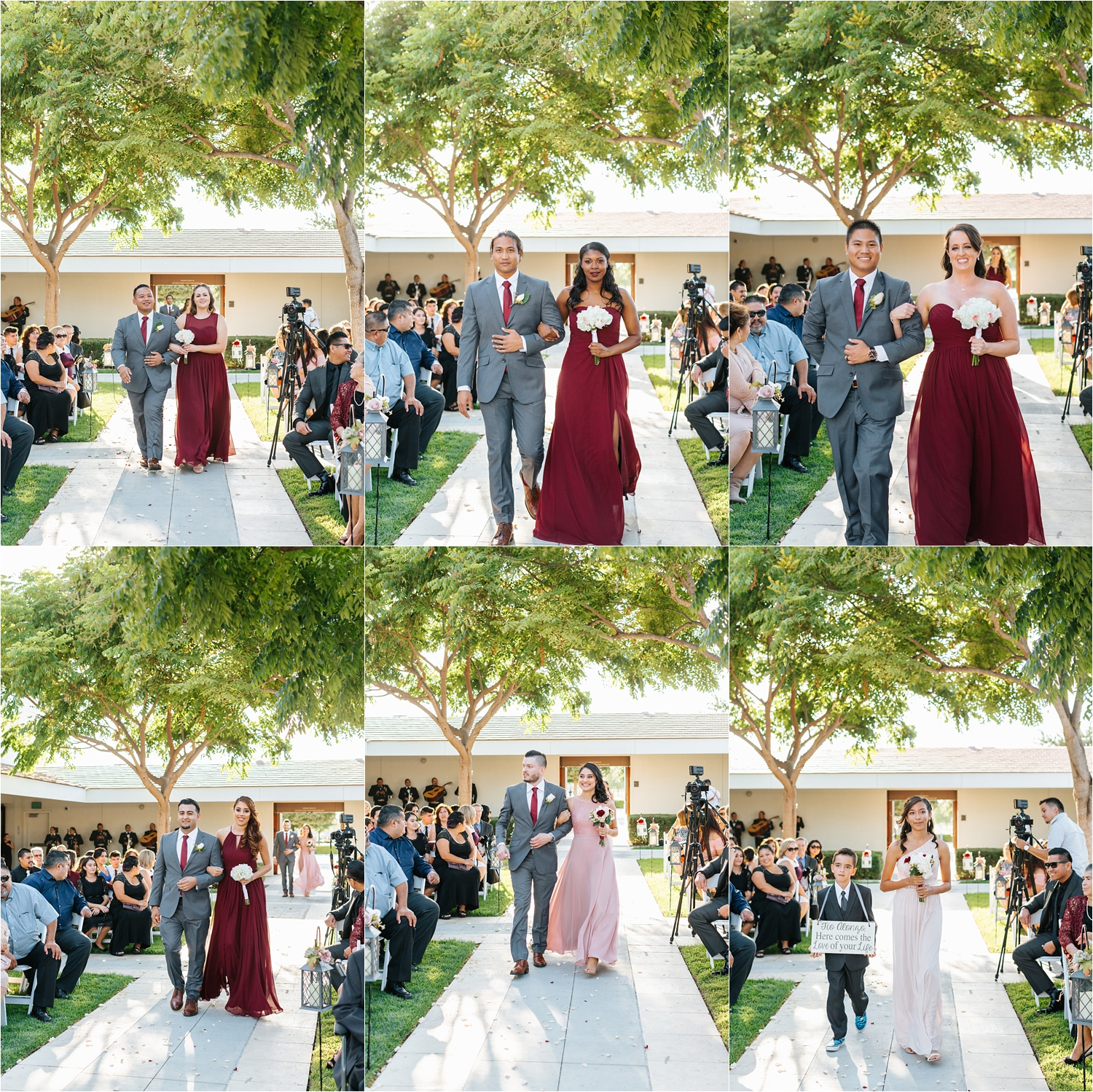 Bridesmaids and Groomsmen walking down the aisle - https://brittneyhannonphotography.com