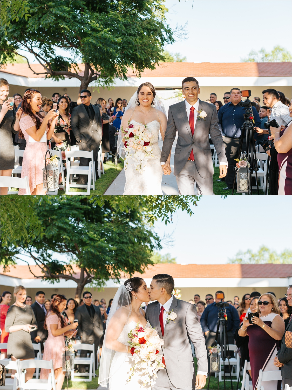 Bride and Groom Kiss at the end of the aisle - Wedding Ceremony Details - https://brittneyhannonphotography.com