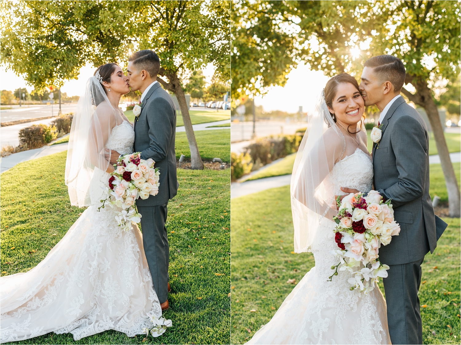 Romantic Sunset Bride and Groom Photos - https://brittneyhannonphotography.com