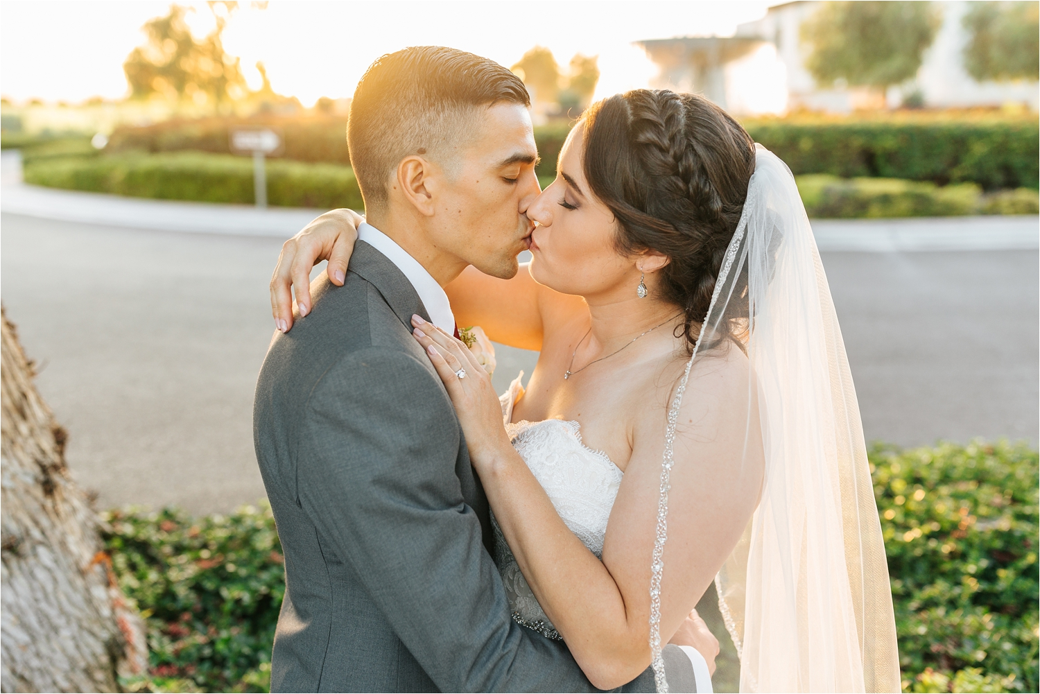 Romantic Bride and Groom Photo at Sunset - Chaffey College Wedding - Chino, CA - https://brittneyhannonphotography.com