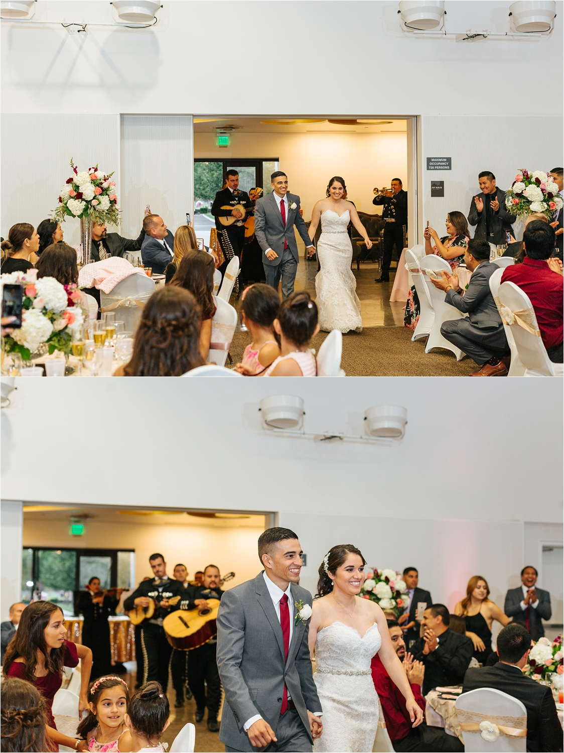 Chaffey College Wedding - Bride and Groom's Grand Entrance into Wedding Reception - https://brittneyhannonphotography.com