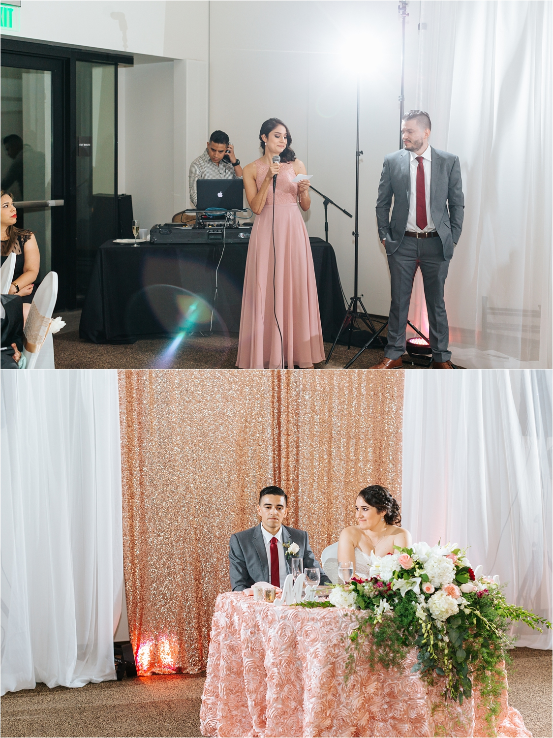 Brides sister and maid of honor gives wedding speech
