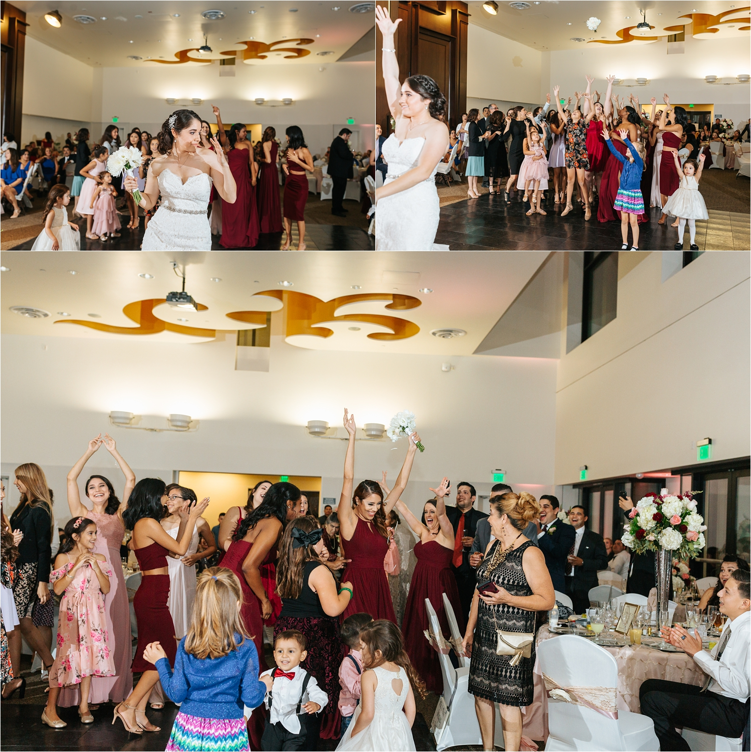 Bouquet Toss - Bride tosses the bouquet - https://brittneyhannonphotography.com