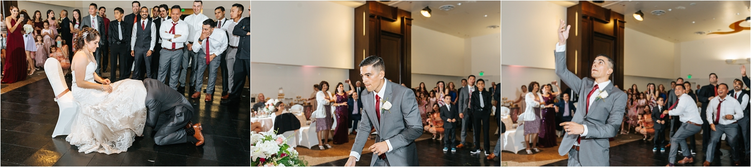 Garter Toss - Groom Tosses Garter at Wedding Reception - https://brittneyhannonphotography.com