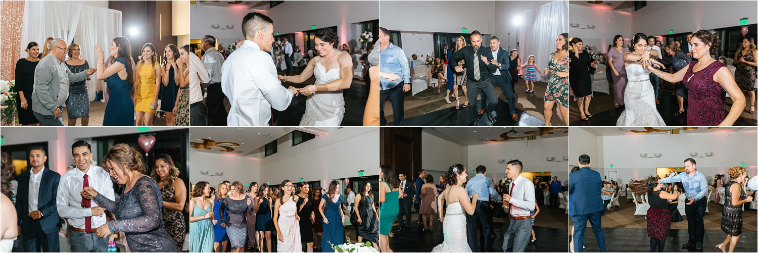 Wedding Reception Inspiration - Bride and Groom dancing with guests - https://brittneyhannonphotography.com