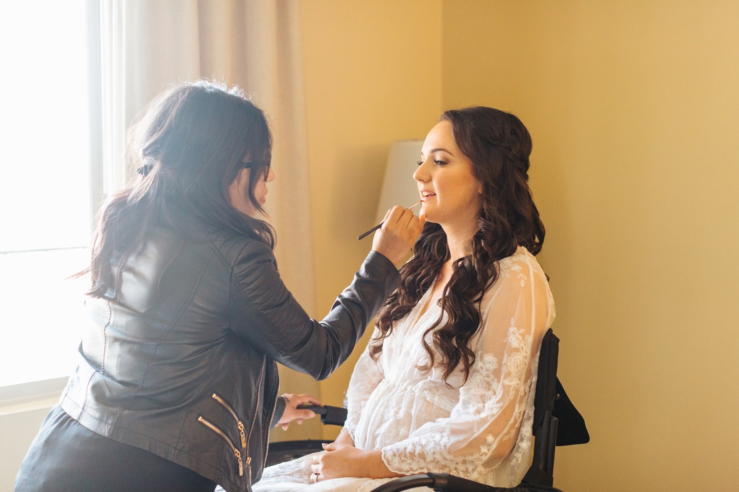 Bride getting ready for her wedding - Chino Hills Wedding at the Chino Hills Community Center - https://brittneyhannonphotography.com