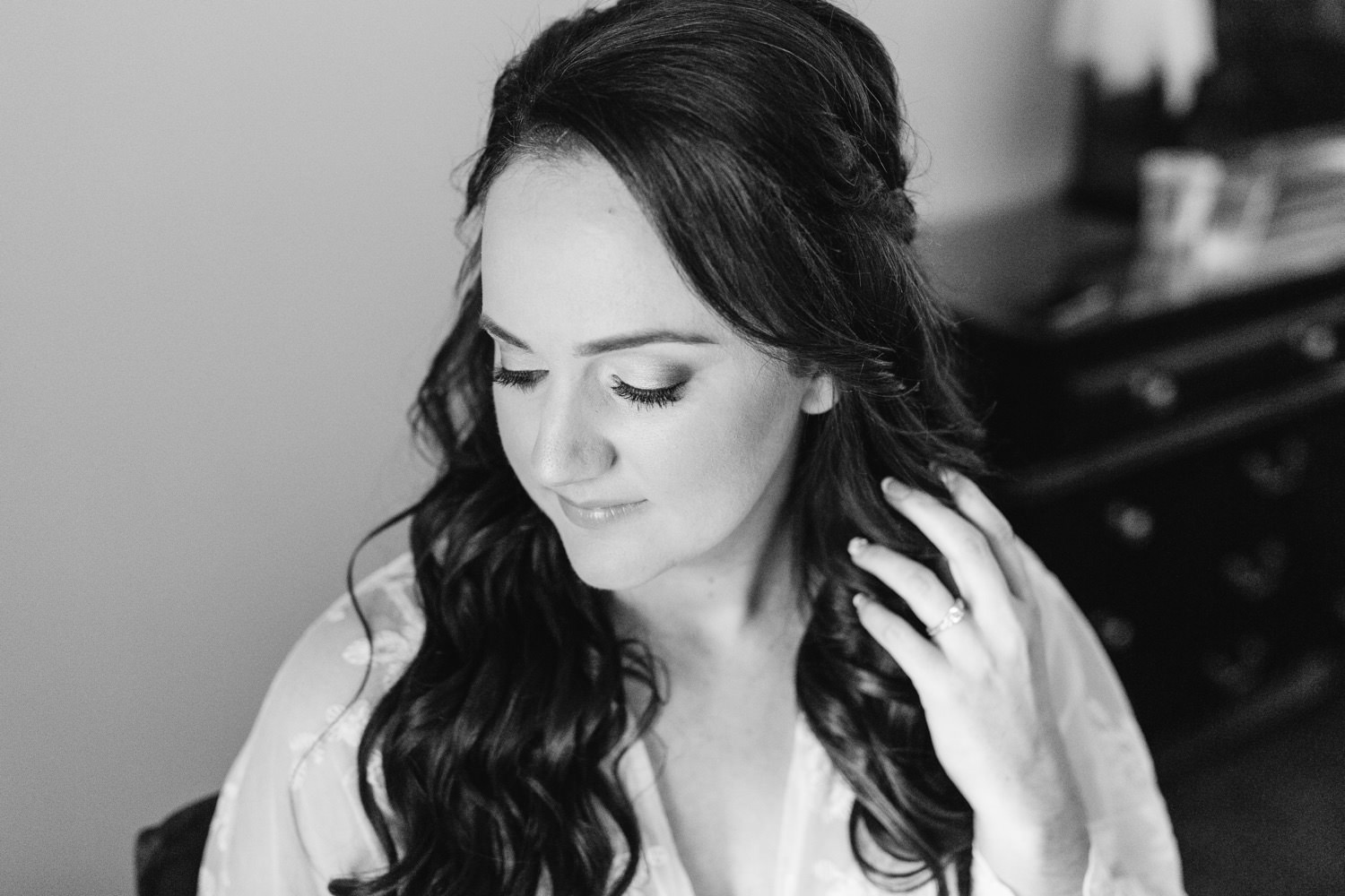 Black and White Bridal Portrait - Bridal Hair and Makeup - Chino Hills Wedding at the Chino Hills Community Center - https://brittneyhannonphotography.com
