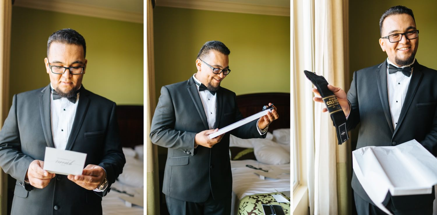 Groom opening gift from his bride - https://brittneyhannonphotography.com