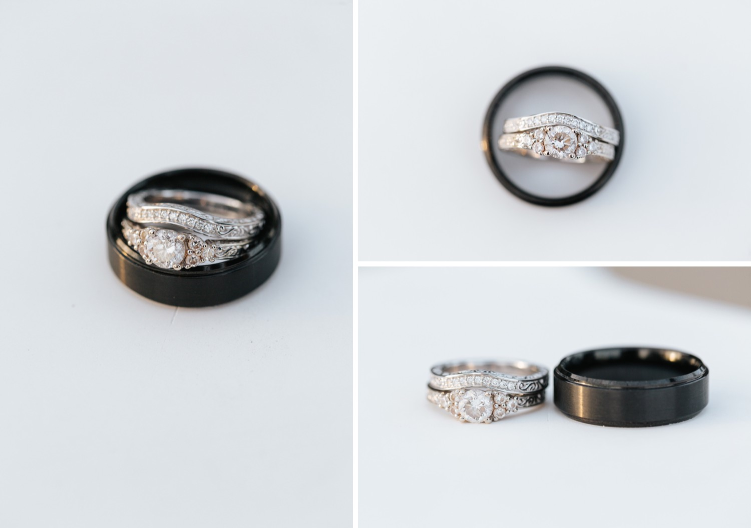 Bride and Groom Wedding Rings - Engagement Ring - Wedding Bands - https://brittneyhannonphotography.com