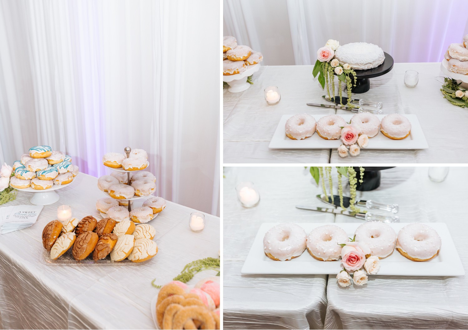 Donut Dessert Bar - Wedding Reception at Chino Hills Community Center - Chino Hills Wedding Photographer - https://brittneyhannonphotography.com
