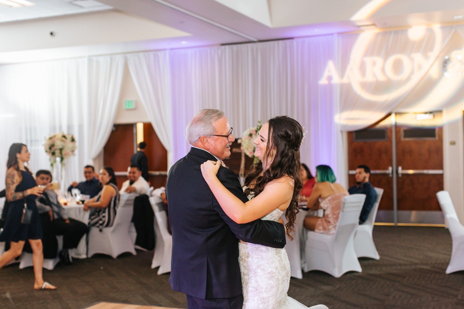 Bride dances with her father - father daughter dance - https://brittneyhannonphotography.com