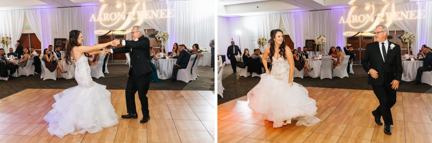 Bride and her Dad surprise guests as they perform a choreographed dance - https://brittneyhannonphotography.com