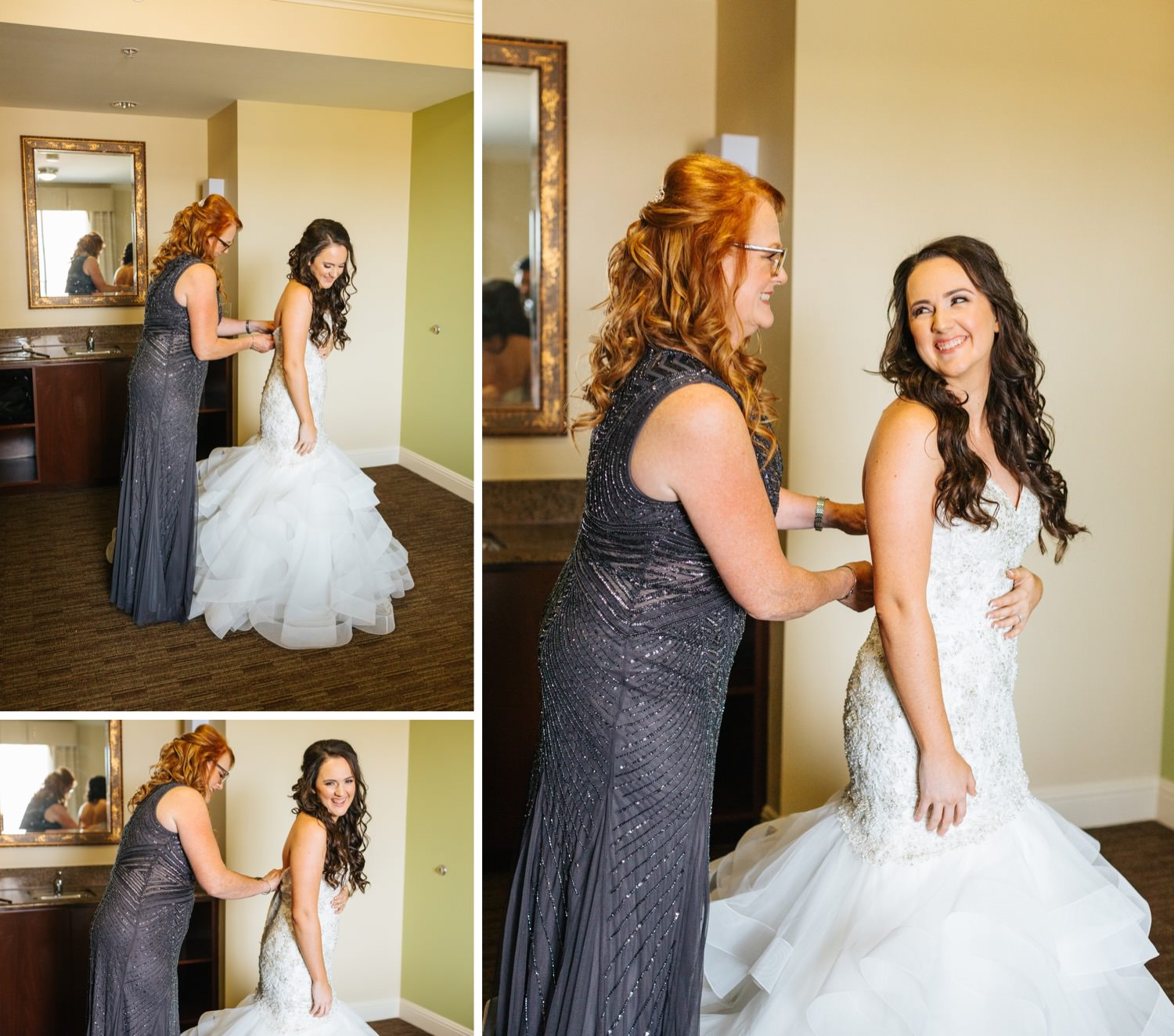 Bride's mom helping her into wedding dress - https://brittneyhannonphotography.com