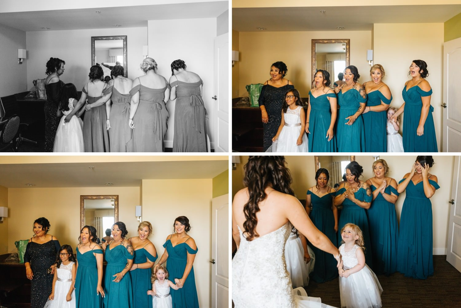 Bride's first look with her bridesmaids - https://brittneyhannonphotography.com