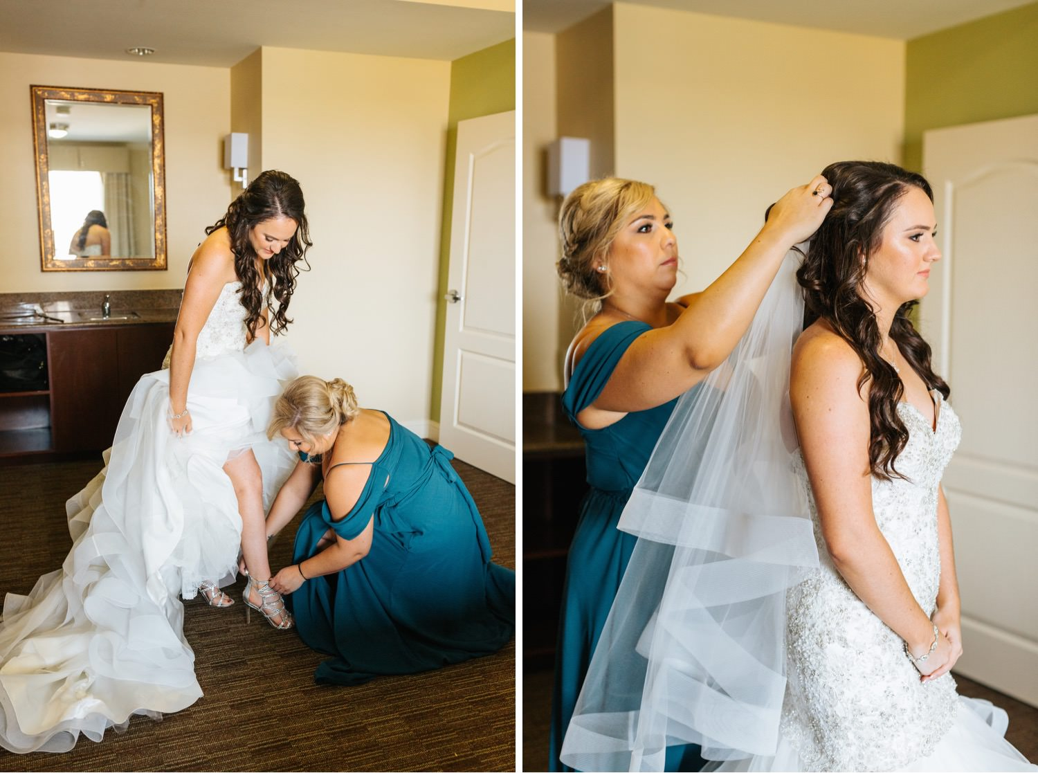 Maid of Honor putting in veil and helping bride put on her heels - https://brittneyhannonphotography.com