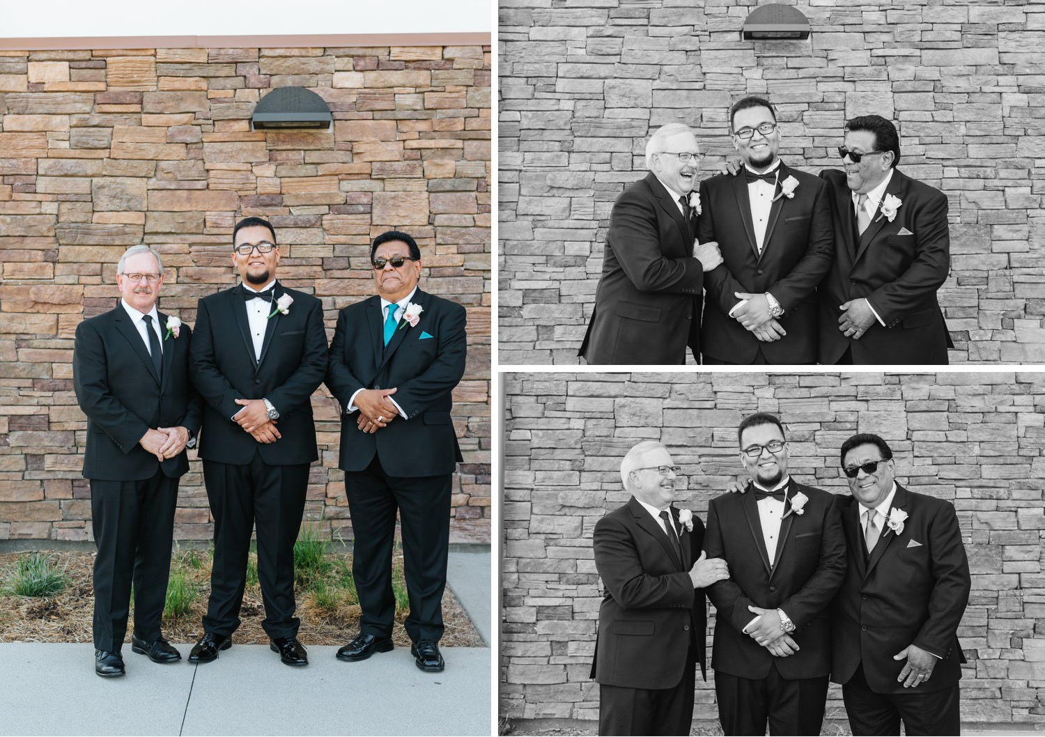 Groom with his dad and the brides dad - https://brittneyhannonphotography.com