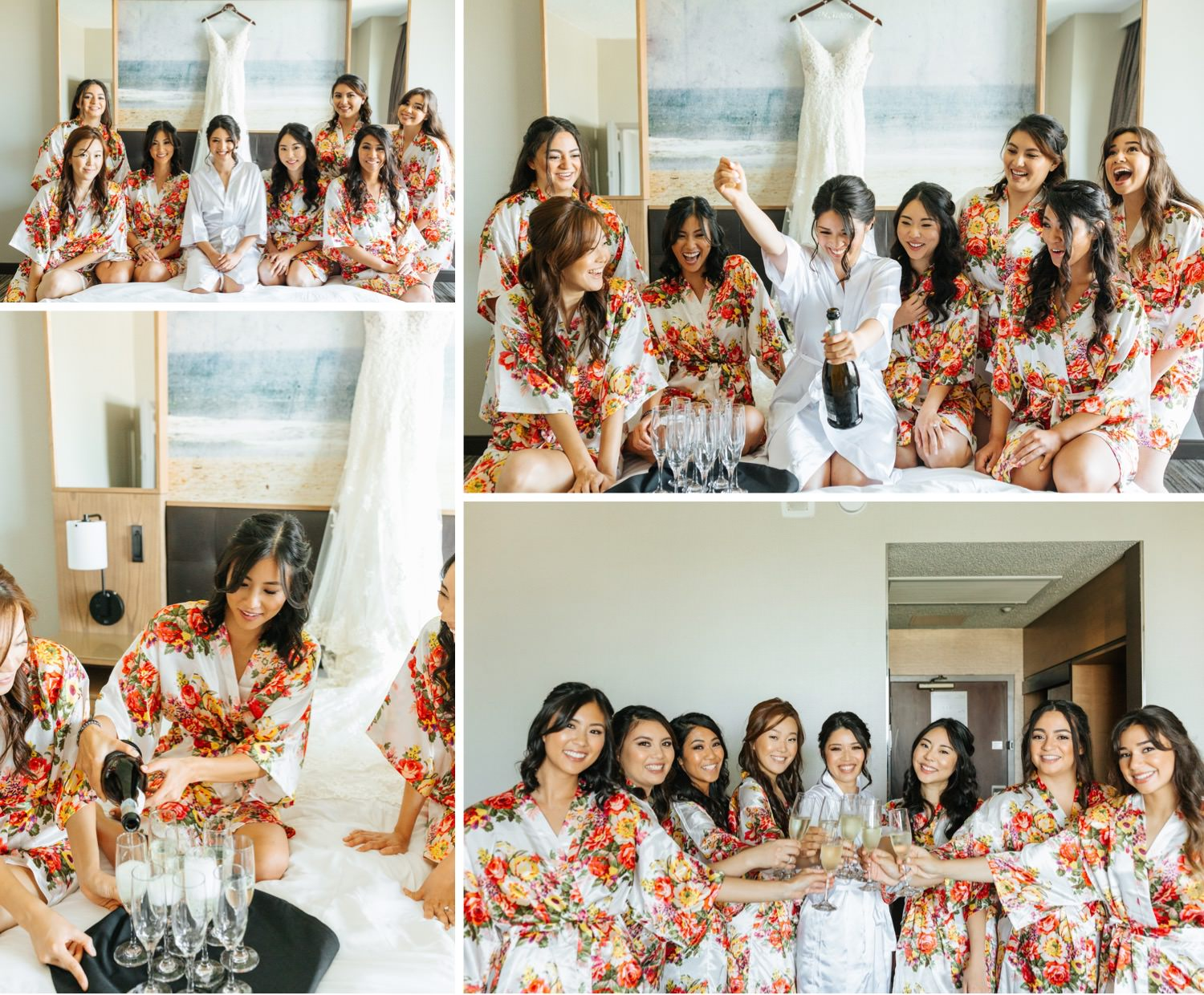 Bride and Bridesmaids popping champagne - Los Angeles Wedding Photography - https://brittneyhannonphotography.com
