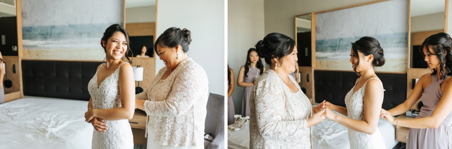 Bride getting into wedding dress - Los Angeles Wedding - https://brittneyhannonphotography.com