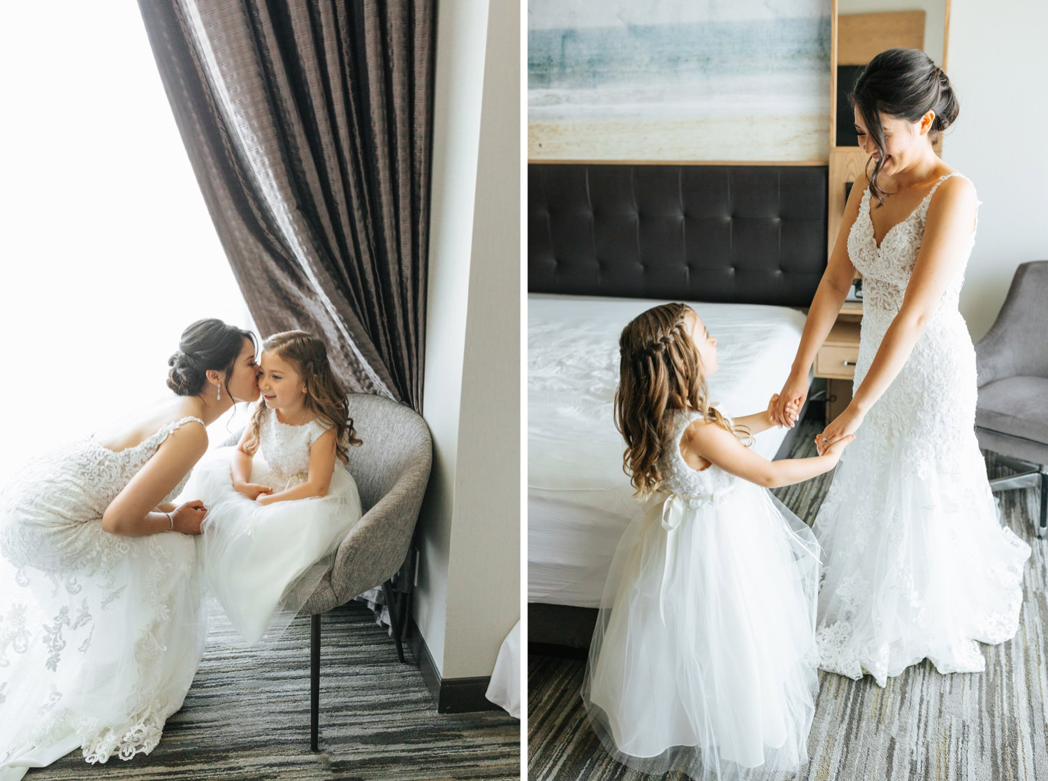 Flower girl with the bride - https://brittneyhannonphotography.com