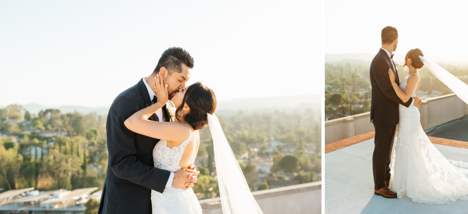Gorgeous natural light wedding photos - Los Angeles rooftop wedding - https://brittneyhannonphotography.com