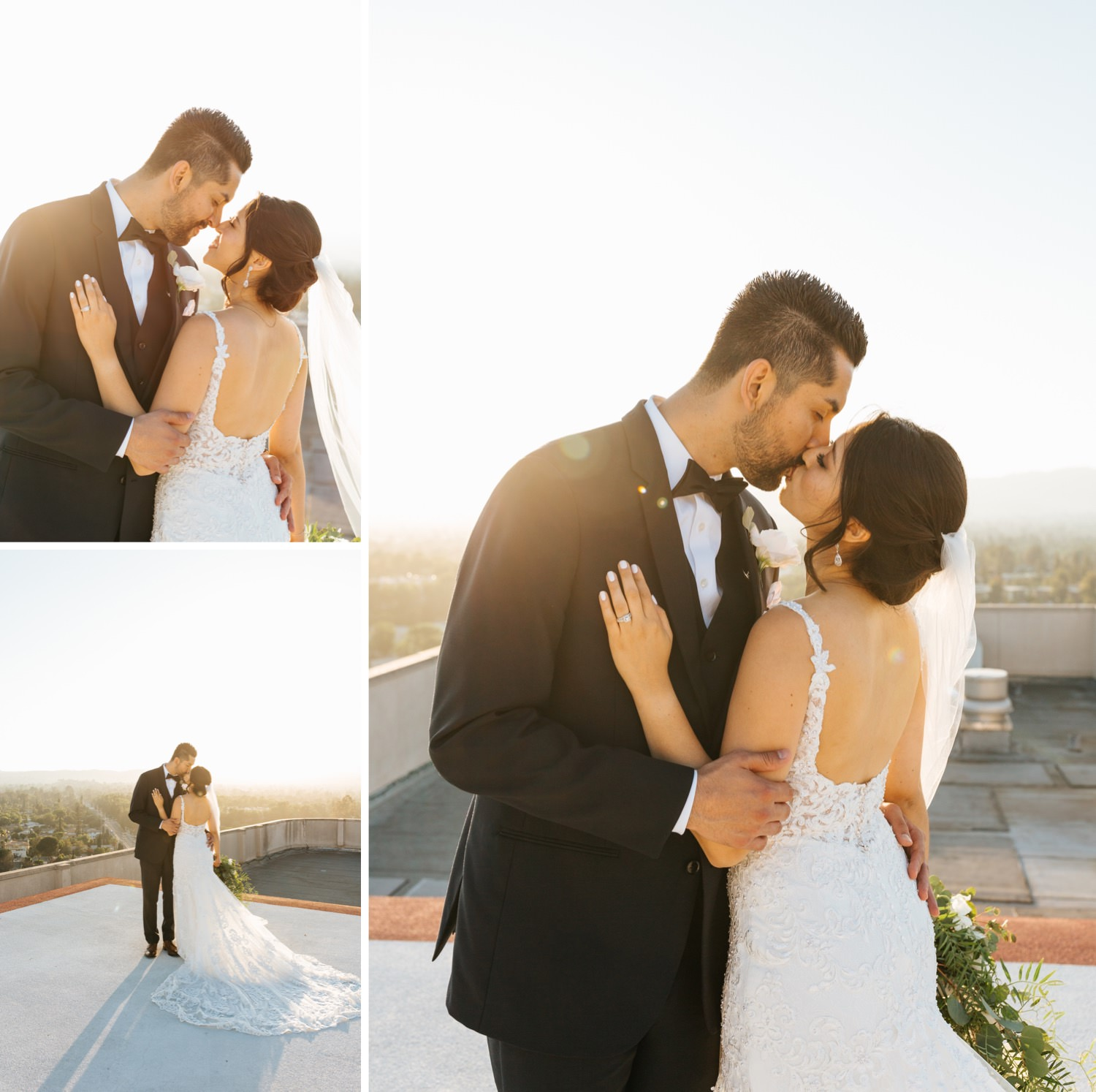 Bride and Groom LA rooftop photos - https://brittneyhannonphotography.com