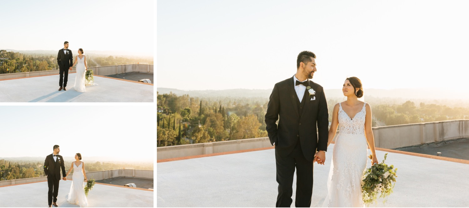 Romantic Wedding Photos - Bride and Groom Portraits - Los Angeles rooftop - https://brittneyhannonphotography.com