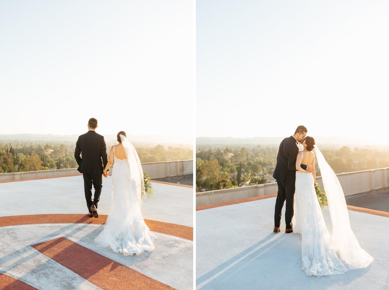 Bride and Groom rooftop wedding photos - Woodland Hills Wedding - https://brittneyhannonphotography.com