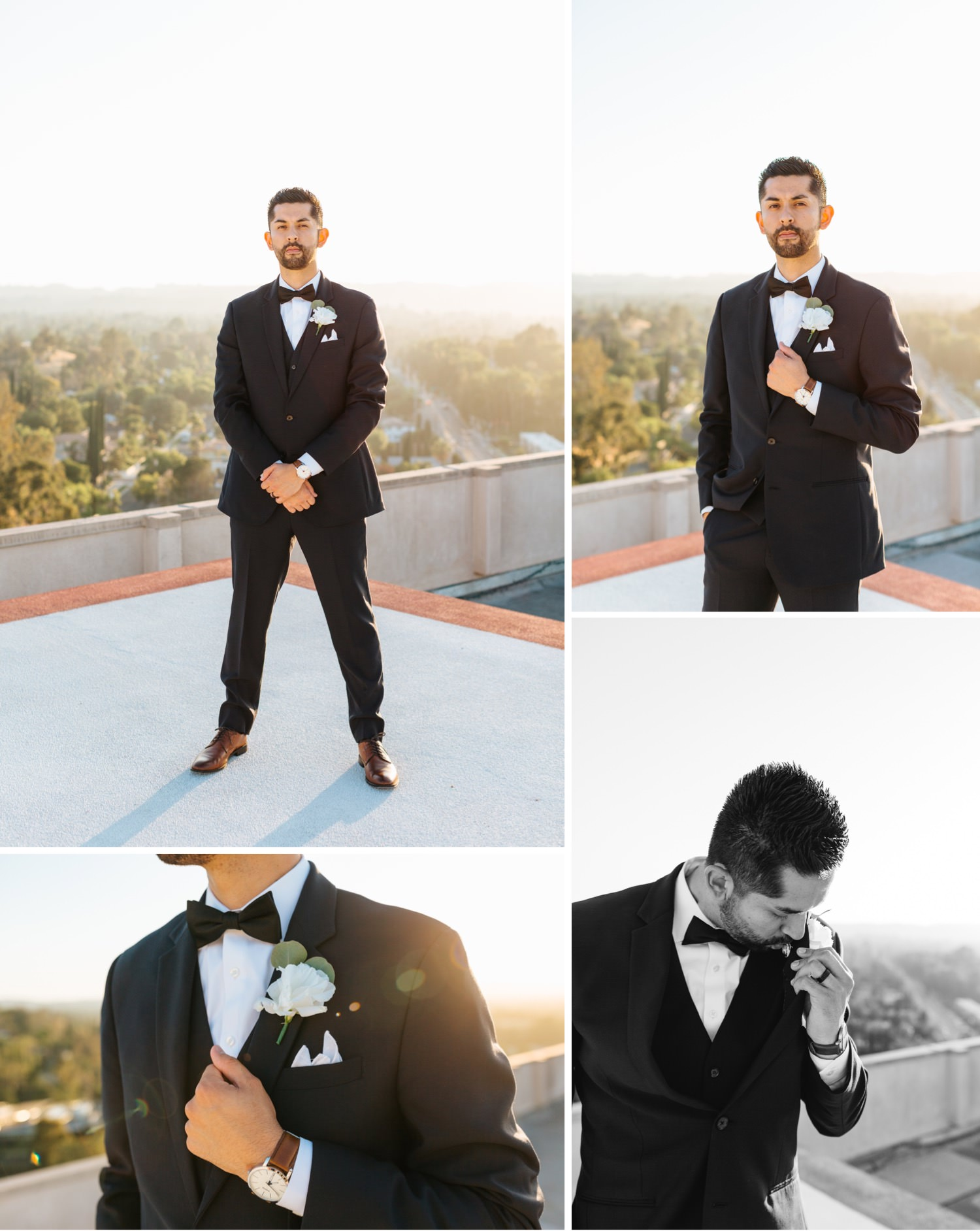 Handsome Groom - Rooftop LA Wedding Photos - https://brittneyhannonphotography.com