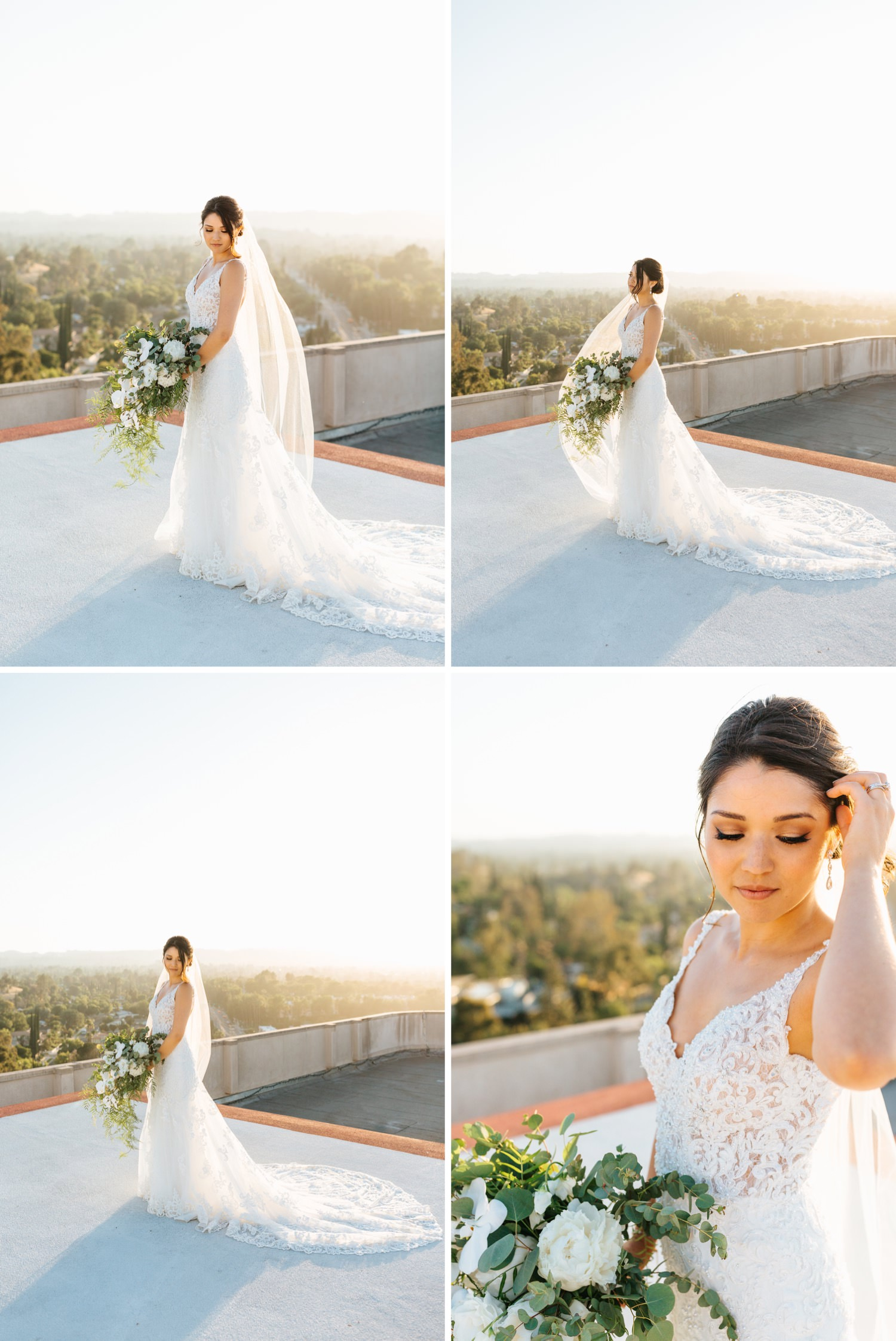 Stunning Bridal Portraits - Beautiful Bride - LA rooftop Wedding photos - https://brittneyhannonphotography.com